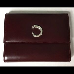 CARTIER Matelasse Burgundy Panthere TriFold Wallet